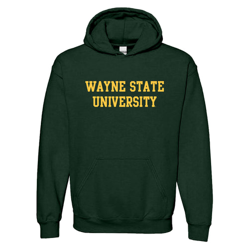 Wayne State University Basic Block Heavy Blend Hoodie - Forest
