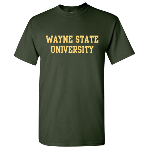 Wayne State University Warriors Basic Block Short Sleeve T-Shirt - Forest Green