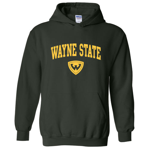 Wayne State University Warriors Arch Logo Heavy Blend Hoodie - Forest Green