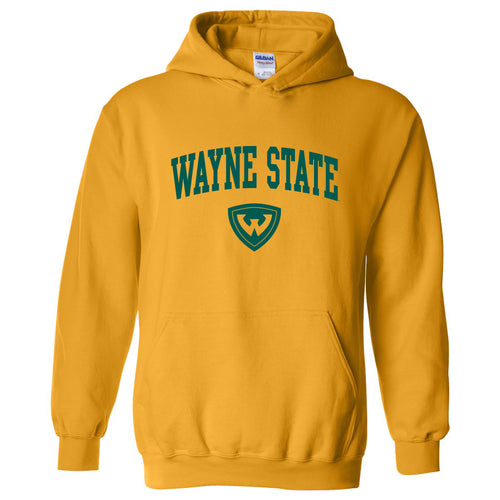 Wayne State University Warriors Arch Logo Heavy Blend Hoodie - Gold
