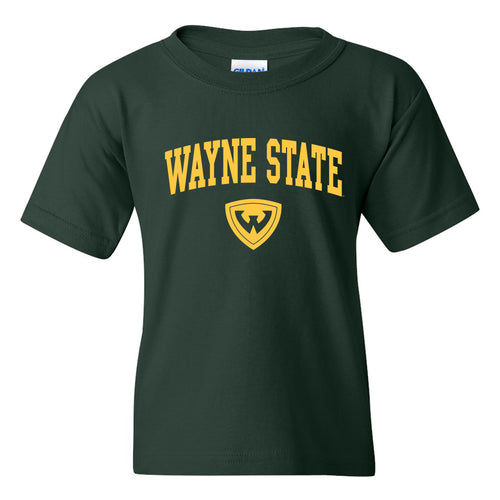 Wayne State University Warriors Arch Logo Youth Short Sleeve T-Shirt - Forest Green