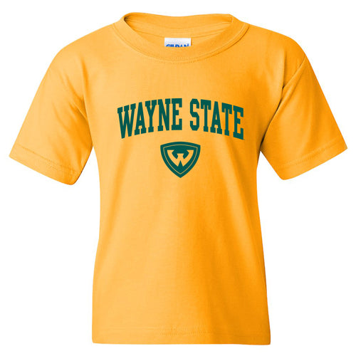 Wayne State University Warriors Arch Logo Youth Short Sleeve T-Shirt - Gold