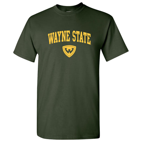 Wayne State University Warriors Arch Logo Short Sleeve T Shirt - Forest Green