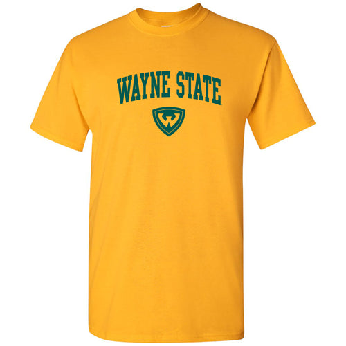 Wayne State University Warriors Arch Logo Short Sleeve T Shirt - Gold