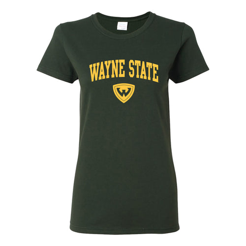 Wayne State University Warriors Arch Logo Womens Short Sleeve T Shirt - Forest Green