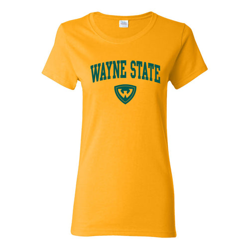 Wayne State University Warriors Arch Logo Womens Short Sleeve T Shirt - Gold