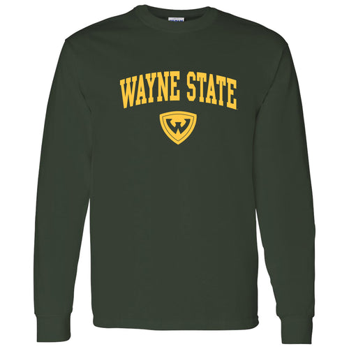 Wayne State University Warriors Arch Logo Long Sleeve T-Shirt - Forest Green