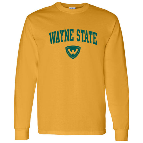Wayne State University Warriors Arch Logo Long Sleeve T-Shirt - Gold