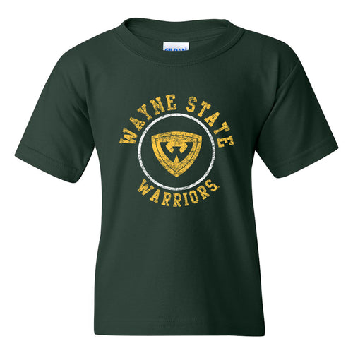 Wayne State Distressed Circle Logo Youth T Shirt - Forest