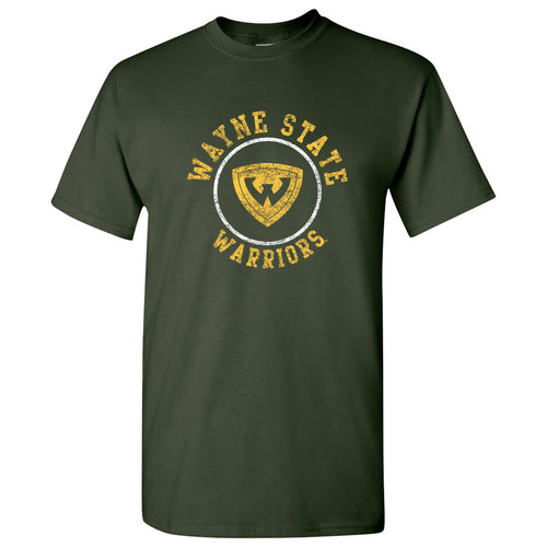 Wayne State University Warriors Distressed Circle Logo Short Sleeve T Shirt - Forest