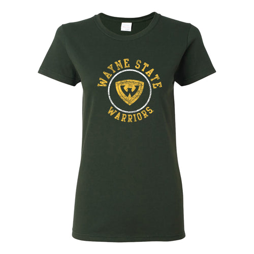 Wayne State University Warriors Distressed Circle Logo Womens Short Sleeve T Shirt - Forest