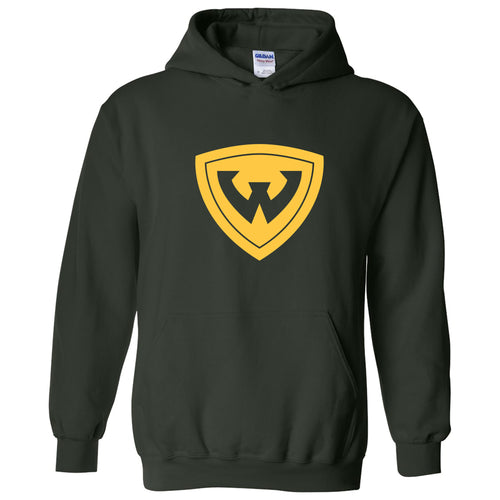 Wayne State University Warriros Primary Logo Heavy Blend Hoodie - Forest Green