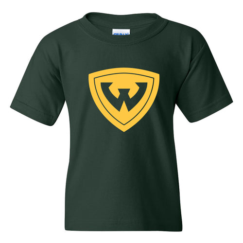 Wayne State University Warriors Primary Logo Youth Short Sleeve T-Shirt - Forest Green