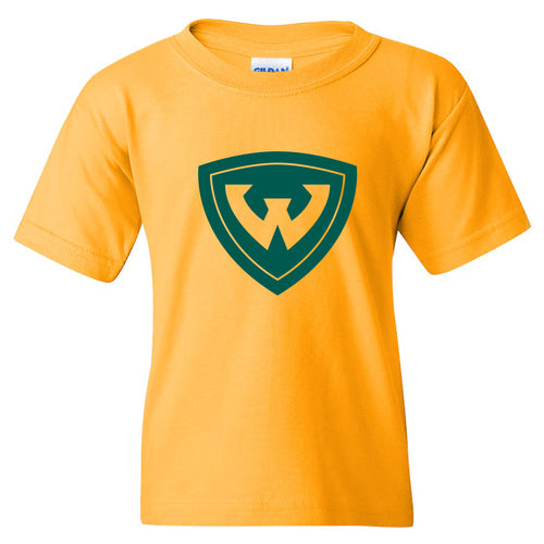 Wayne State University Warriors Primary Logo Youth Short Sleeve T-Shirt - Gold