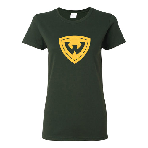 Wayne State University Warriors Primary Logo Womens Short Sleeve T Shirt - Forest Green