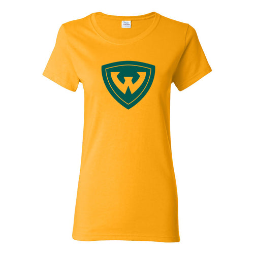 Wayne State University Warriors Primary Logo Womens Short Sleeve T Shirt - Gold