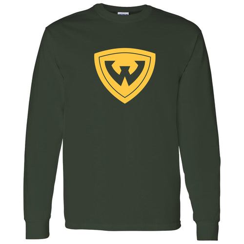 Wayne State University Warriors Primary Logo Long Sleeve T-Shirt - Forest Green