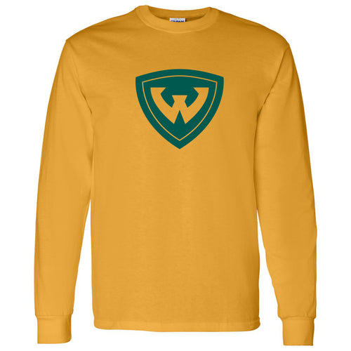 Wayne State University Warriors Primary Logo Long Sleeve T-Shirt - Gold