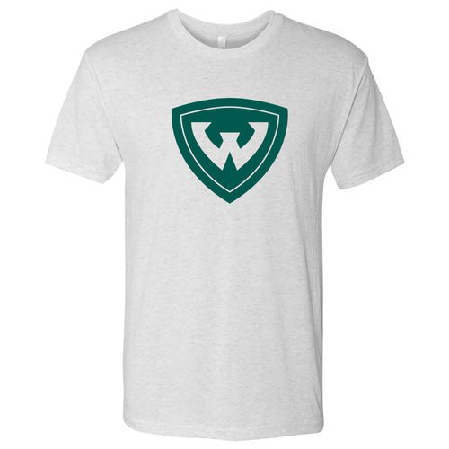 Wayne State Primary Logo Triblend - Heather White