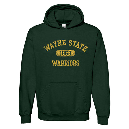 Wayne State University Warriors Athletic Arch Heavy Blend Hoodie - Forest