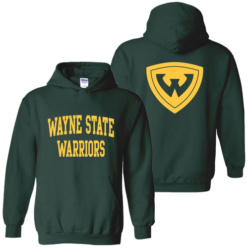 Wayne State University Warriors Front Back Print Heavy Blend Hoodie - Forest