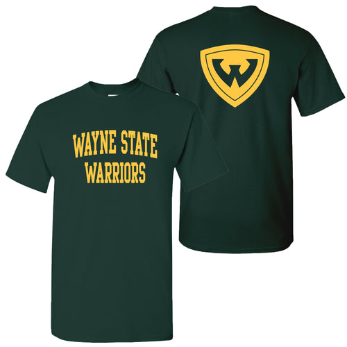 Wayne State University Warriors Front Back Print Short Sleeve T Shirt - Forest