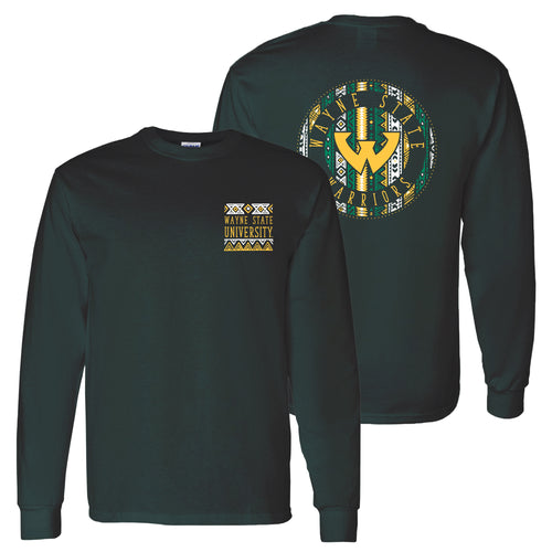 Wayne State University Warriors Aztec Pattern Emblem Long Sleeve T-Shirts - Forest