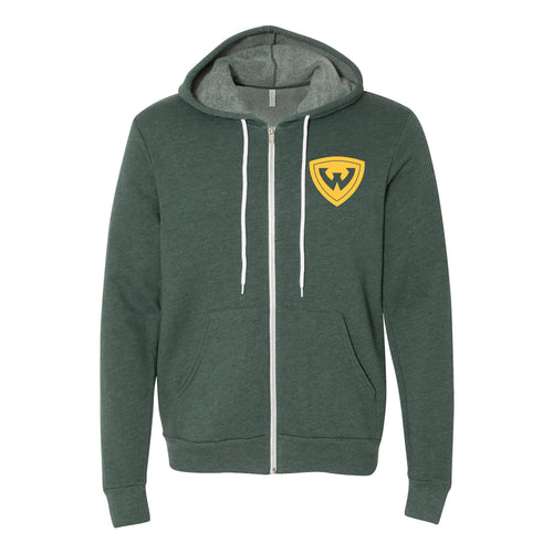 Wayne State University Warriors Primary Logo Full Zip Hoodie - Heather Forest