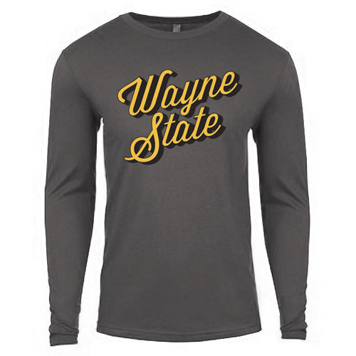 Wayne State Script Long Sleeve Thermal - Heavy Metal