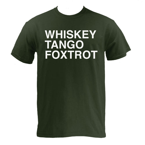 Whiskey, Tango, Foxtrot WTF Funny Humor Adult Basic Cotton T Shirt - Forest
