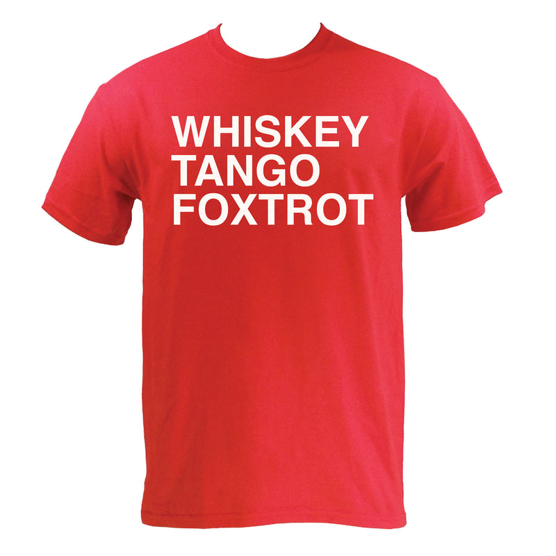 Whiskey, Tango, Foxtrot WTF Funny Humor Adult Basic Cotton T Shirt - Red