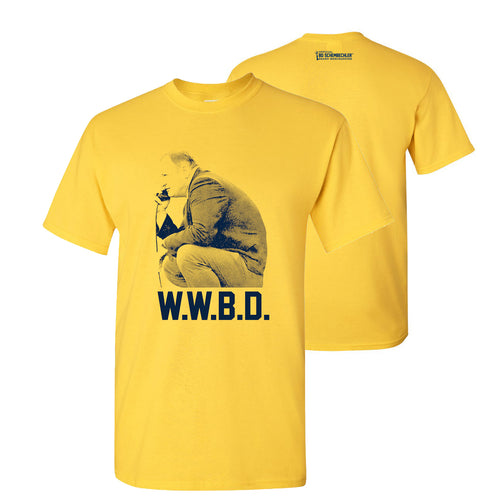 Bo Schembechler What Would Bo Do University of Michigan Basic Cotton Short Sleeve T Shirt - Maize