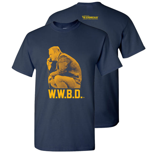 Bo Schembechler What Would Bo Do University of Michigan Basic Cotton Short Sleeve T Shirt - Navy
