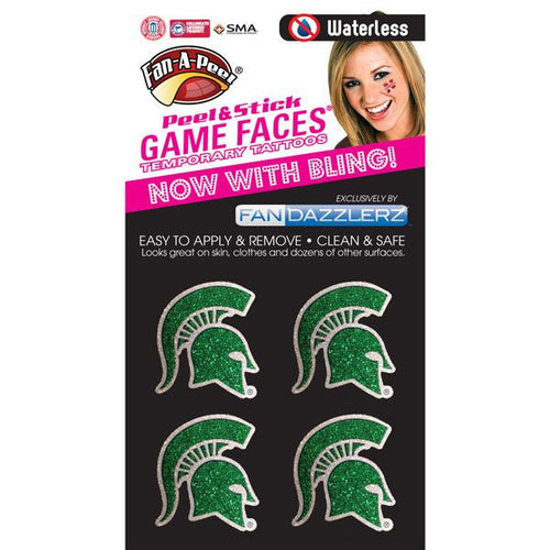 Michigan State University Spartans Glitter Cheek Tattoos - Green