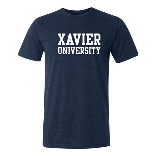 Xavier Univeristy Musketeers Basic Block Canvas Triblend Short Sleeve T Shirt - Solid Navy Triblend