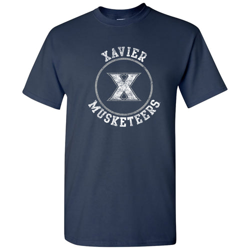 Xavier University Musketeers Distressed Circle Logo Short Sleeve T Shirt - Navy