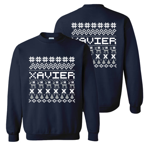 Xavier University Musketeers Ugly Holiday Sweater Crewneck Sweatshirt - Navy