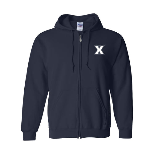 Xavier Primary Logo Left Chest Full Zip Hoodie - Navy