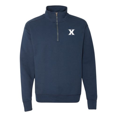 Xavier University Musketeers Primary Left Chest Quarter Zip Sweatshirt- Navy
