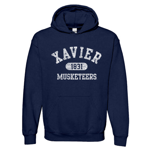 Xavier University Musketeers Athletic Arch Heavy Blend Hoodie - Navy