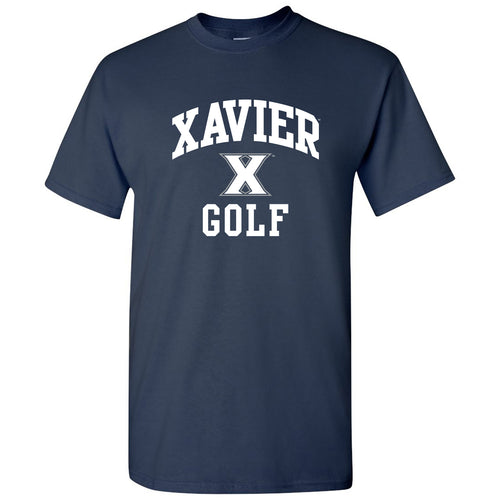 Xavier Arch Logo Golf T Shirt - Navy
