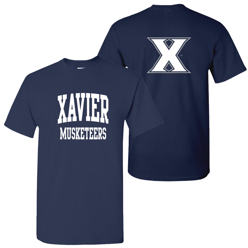 Xavier University Muleteers Front Back Print Short Sleeve T Shirt - Navy