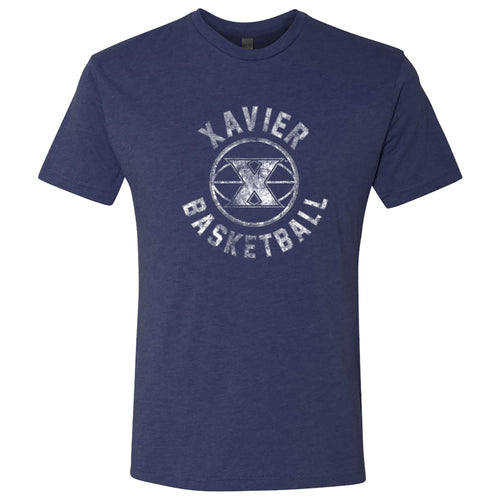 Xavier University Musketeers Basketball Distress Next Level Short Sleeve T-Shirt - Vintage Navy