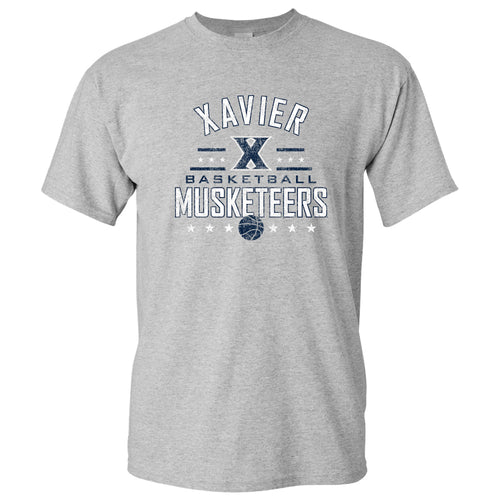 Basketball Arch Stars Xavier Musketeers Basic Cotton Short Sleeve T Shirt - Sport Grey