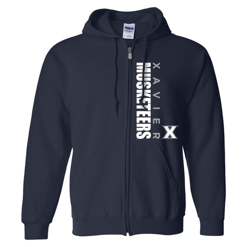 Xavier University Musketeers Vertical Block Left Chest Full Zip Hoodie - Navy