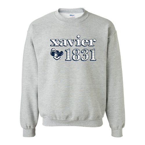 Xavier University Musketeers Throwback Year Stripe Heavy Blend Crewneck - Sport Grey