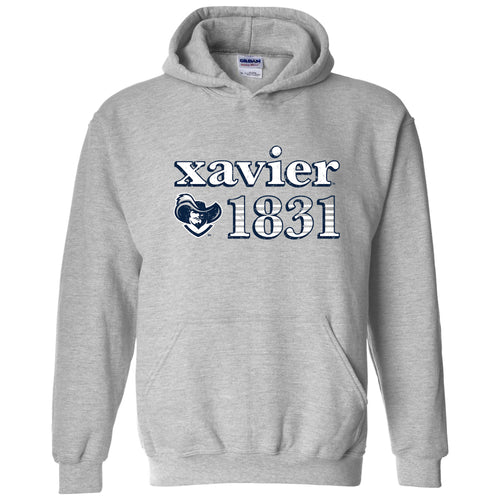 Throwback Year Stripe Xavier Musketeers Heavy Blend Hoodie - Sport Grey