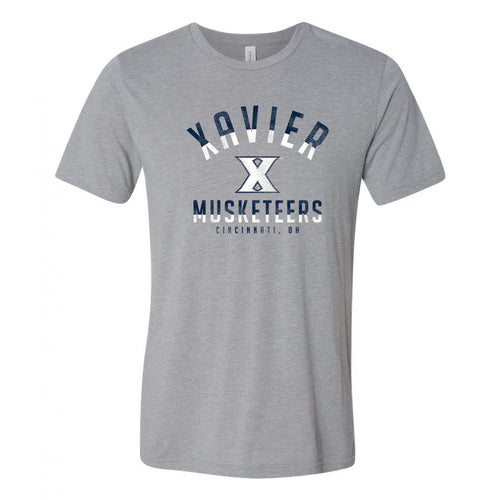 Division Arch Xavier Univeristy Musketeers Canvas Triblend Short Sleeve T Shirt - Athletic Grey