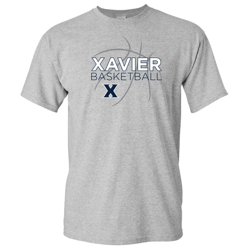 Xavier University Musketeers Basketball Sketch Basic Cotton Short Sleeve T Shirt - Sport Grey