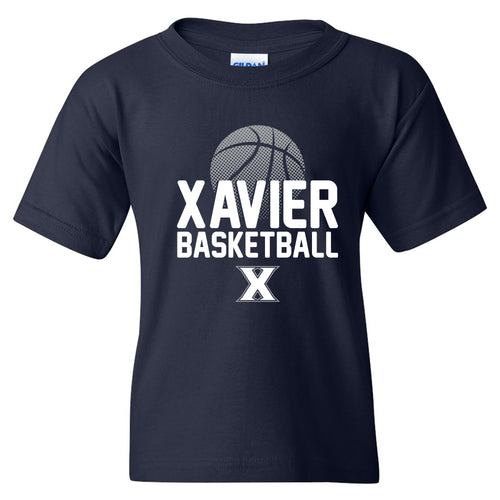 Xavier University Musketeers Basketball Flux Basic Cotton Youth Short Sleeve T Shirt - Navy